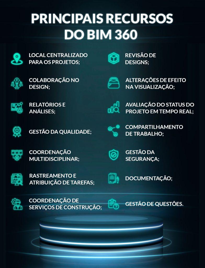Produtos do BIM 360 Com os recursos da ferramenta será possível incluir documentações relativas ao escopo inicial, administração e experiência do usuário final. Isso significa que o BIM 360 permite que pessoas, informações e fluxos de trabalho sejam conectados. Assim, o compartilhamento de dados, revisões, anotações, modificações e comentários sobre o andamento do projeto podem ser conhecidos por todos durante um fluxo de trabalho contínuo e eficiente. A plataforma inclui uma série de ofertas de produtos, como: •BIM 360 Team: fornece espaço de trabalho central na nuvem; •BIM 360 Design:  permite acesso à funcionalidade do BIM 360, do Revit, do Civil 3D e do Plant 3D e também que as equipes de projeto colaborem em projetos de atalho de dados do Civil 3D no BIM 360; •BIM 360 Docs (BIM Documents Management): permite que a documentação (blueprints, plantas 2D, modelos 3D BIM e qualquer outro documento) seja organizada, gerenciada e acessada;  •BIM 360 Build: melhora o controle de qualidade da construção e os programas de segurança;  •BIM 360 Glue: é bastante direcionado ao BIM Manager  pois permite a integração dos documentos (Revit, Navisworks ou CAD) para visualização de categorias dos projetos; •BIM 360 Field: dedicada ao canteiro de obras para verificação de dados; •BIM 360 Ops: agiliza a organização de futuras atividades de manutenção direcionada para dispositivos móveis e navegadores web; •BIM 360 Layout: esse aplicativo para android permite que os empreiteiros de construções verticais conectem o modelo coordenado ao processo de layout de campo. Principais recursos do BIM 360 •Local centralizado para os projetos; •Revisão de designs; •Colaboração no design; •Alterações de efeito na visualização; •Relatórios e análises; •Documentação; •Gestão de questões; •Coordenação multidisciplinar; •Coordenação de serviços de construção; •Compartilhamento de trabalho; •Rastreamento e atribuição de tarefas; •Gestão da segurança; •Gestão da qualidade; •Avaliação do status do proj